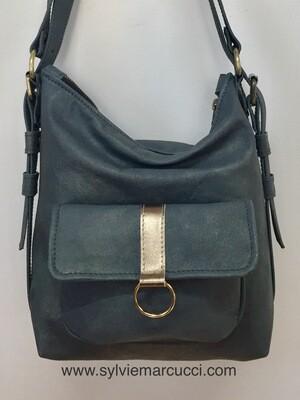 Sabi cuir bleu gris pailletés cuir Français, sac à dos et ou porté épaule, cuir souple pièce unique