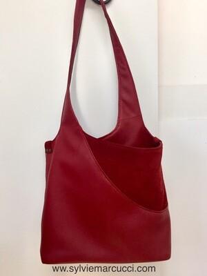 Hobo sac cuir Rouge avec empiècement pour poche, porté épaule, pièce unique, cuir Français
