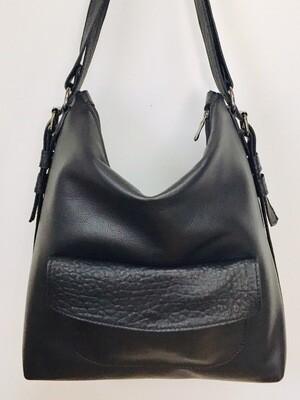 Sab grand format bi cuir noir Français, porté épaule ou sac à dos, pièce unique