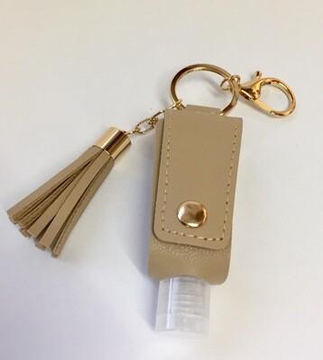 Porte-clés en PU imitation cuir avec flacon 30 ml vide pour désinfectant rechargeable