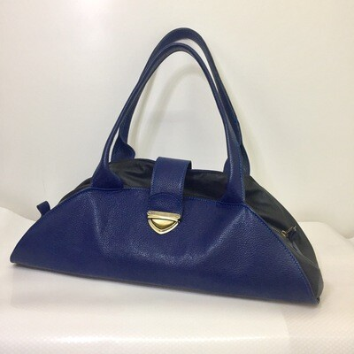 Marina bi cuir bleu et cuir noir, pièce unique, porté épaule ou main /Modèle déposé FR1049592