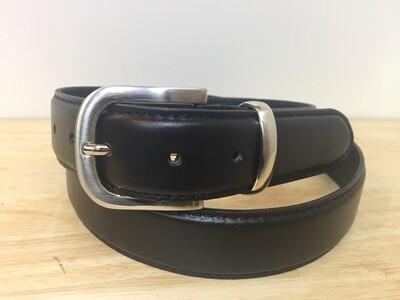 Ceinture cuir noir Français boucle réglable couleur argenté