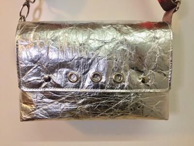 Silver Gold sac en pinatex sac vegan,  sangle coloré gris rouge ... fait à Toulouse France