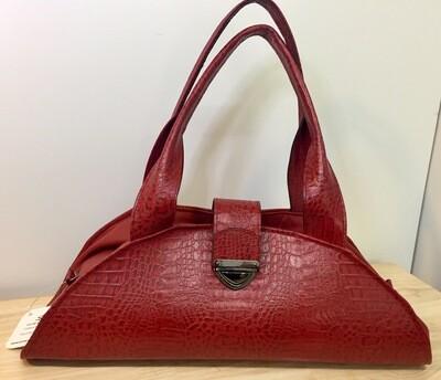 Marina bi cuir rouge pièce unique, porté épaule ou main /Modèle déposé FR1049592