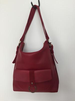 Sab en cuir de vachette rouge, cuir souple, se porte à l'épaule ou en sac à dos #cuir femme#pièce unique