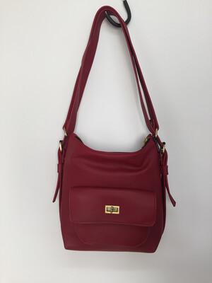 Sabi cuir rouge  français, sac à dos et ou porté épaule, cuir souple pièce unique
