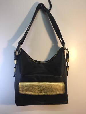 Sab grand format en cuir Français noir, porté épaule ou sac à dos lanières réglables
