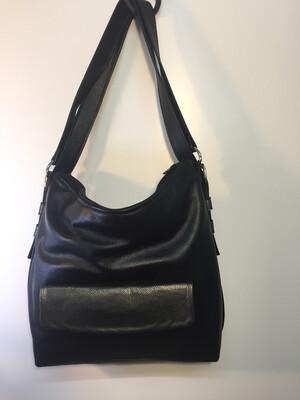 Sab cuir noir 2 façons de le porter, épaule ou sac à dos en cuir Français