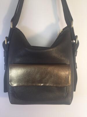 Sabi cuir noir pailletés or, porté épaule ou sac à dos, cuir Français 1 seul modèle dans ce coloris fait à Toulouse