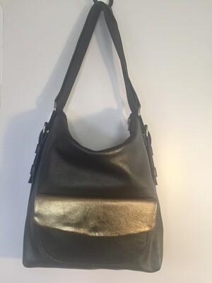 Sab cuir noir pailleté bronze, porté épaule ou sac à dos cuir français fabriqué à Toulouse