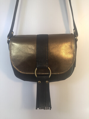 Lybloo cuir Français de couleur noir pailletés or rabat cuir or bronze porté épaule ou bandoulière pièce unique dans ce coloris fait à Toulouse