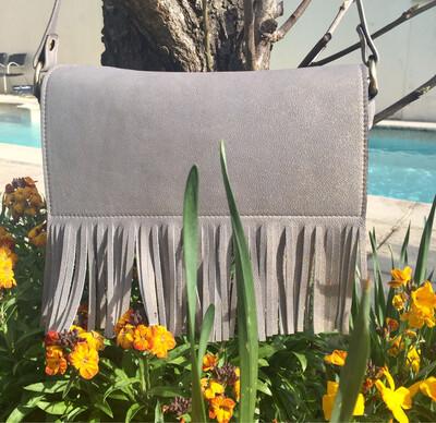 Frangine sac cuir Français fait à Toulouse cuir bleu gris pailletés or rabat détachable pièce unique