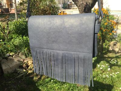 Frangine sac cuir Français fait à Toulouse cuir bleu pailletés or rabat détachable pièce unique