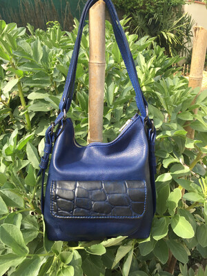 Sabi sac à dos ou porté épaule cuir Bleu souple made in France
