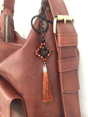 Losange mordoré pendentif de sac ou porté clé/ fait main pièce unique