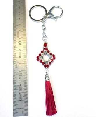 Losange rouge pendentif de sac ou porté clé/ fait main pièce unique