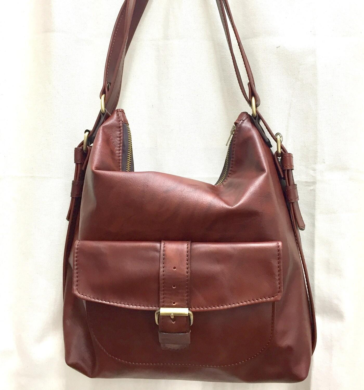 Sab cuir marron marbré, porté épaule ou sac à dos cuir français fabriqué à Toulouse