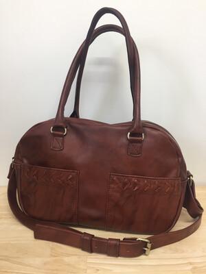Lara sac cuir Français fauve marbré, lanière amovible, porté épaule, pièce unique fait à Toulouse