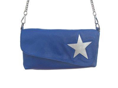 Etoile Sac pochette cuir  femme bleue étoile argent, petit sac,#cuir femme#pièce unique
