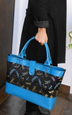 libellule cabas   tissu Noir et cuir bleu turquoise, élégant et décontracté, porté épaule#cuir femme#pièce unique