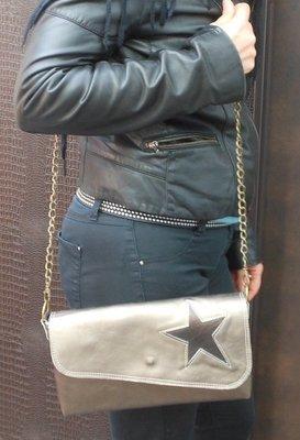 Elisa Sac Pochette  Femme cuir Bronze, anse amovible, motif étoile en cuir, pièce Unique#cuir femme#pièce unique