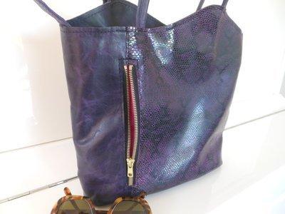 Vagues Sac cuir, Porté à  l'épaule ou en sac à dos cuir imitation Lézard, et cuir uni violet