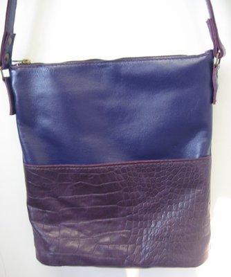 Chloé, Sac en cuir porté bandoulière, porté épaule, cuir de vachette Violet et cuir mauve, pièce unique#cuir femme