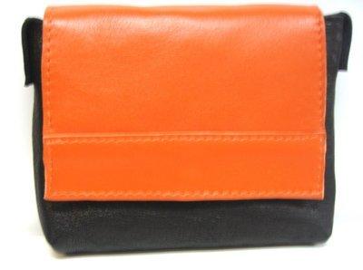 Bahamas pochette ceinture cuir Français idéal voyage protection de vos papiers fait à Toulouse couleur Noir / orange