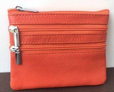 Simply orange, porte monnaie en  cuir zippé, unisexe