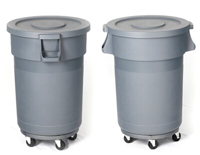 Round Trash Garbage Can 32 Gallon Gray  ::Store Pickup Only::