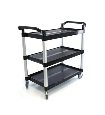 Heavy-Duty 3-Shelf Rolling Service/Utility/Push Cart. 350 lbs. Capacity, 19