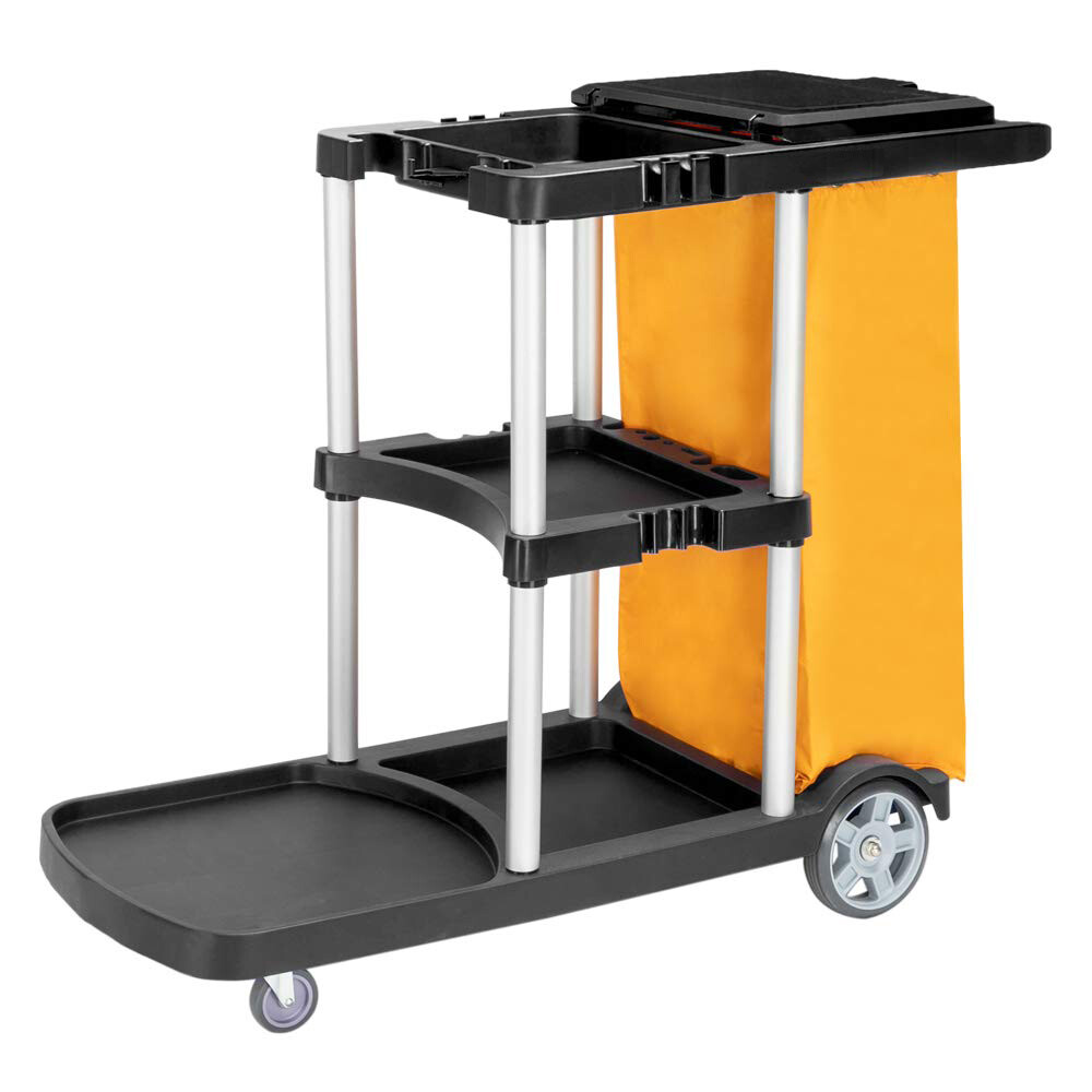 """Commercial Traditional Cleaning Janitorial 3-Shelf Cart, 500 Lbs Capacity Housekeeping Cart, 42.5"""" L x 18.7"""" W x 37.6"""" H, Wheeled with 22 Gallon Zippered Yellow Vinyl Bag and Cover, Black"""