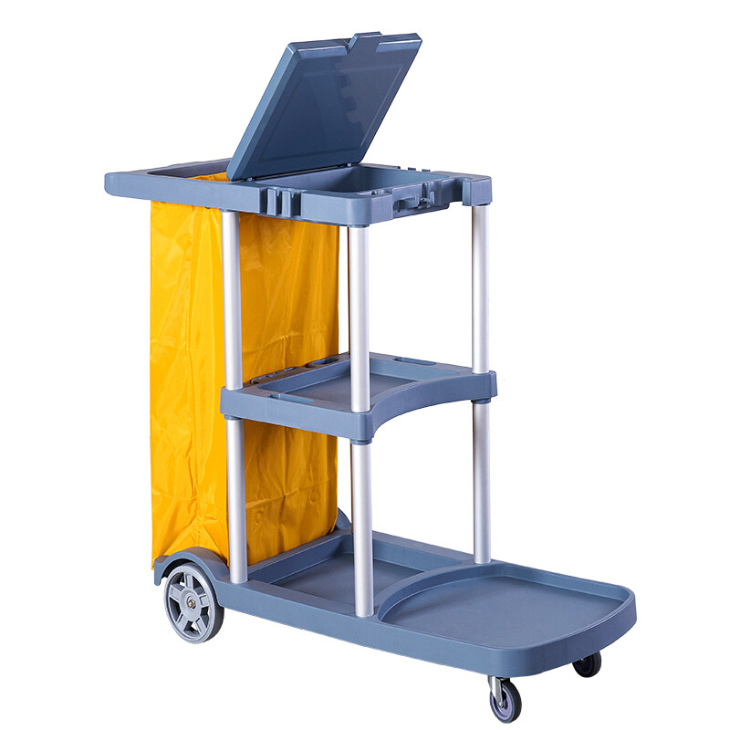 """Commercial Traditional Cleaning Janitorial 3-Shelf Cart, 500 Lbs Capacity Housekeeping Cart, 42.5"""" L x 18.7"""" W x 37.6"""" H, Wheeled with 22 Gallon Zippered Yellow Vinyl Bag and Cover, Grey"""