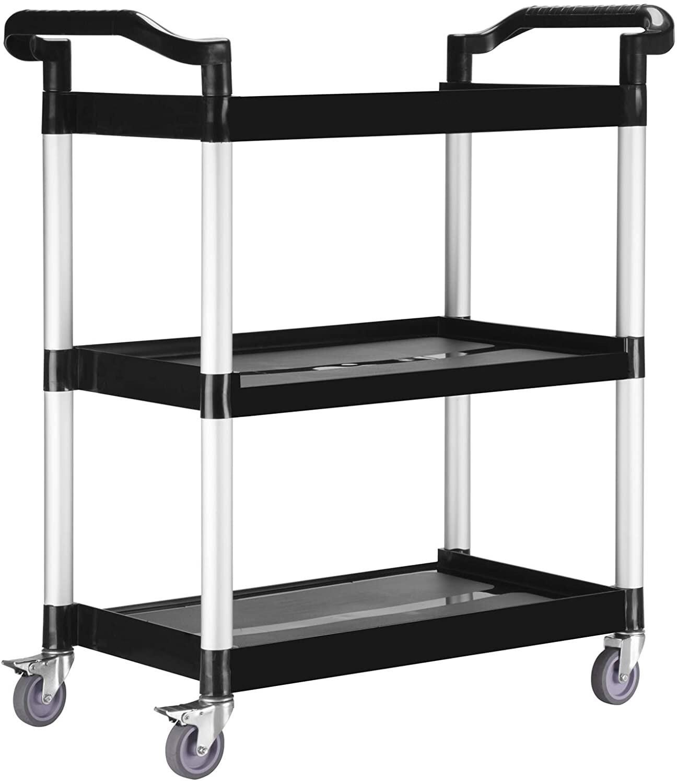 "Heavy-Duty 3-Shelf Rolling Service / Utility / Push Cart. 390 lbs. Capacity, 16"" W, 33"" L, 35"" H."