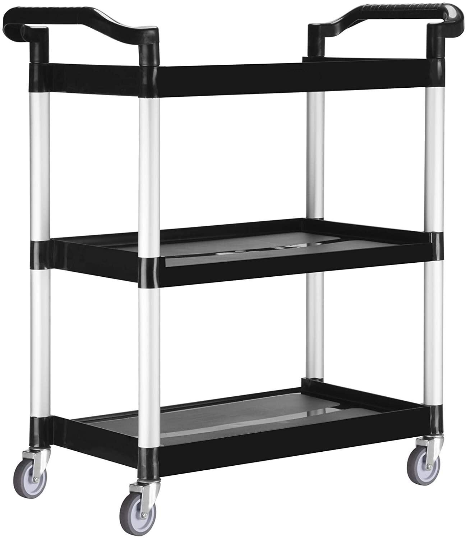 Heavy-Duty 3-Shelf Rolling Service/Utility/Push Cart. 330 lbs. Capacity.