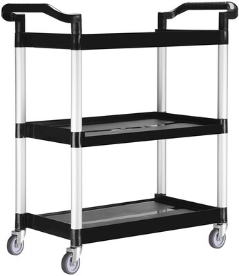 Heavy-Duty 3-Shelf Rolling Service/Utility/Push Cart. 330 lbs. Capacity.
