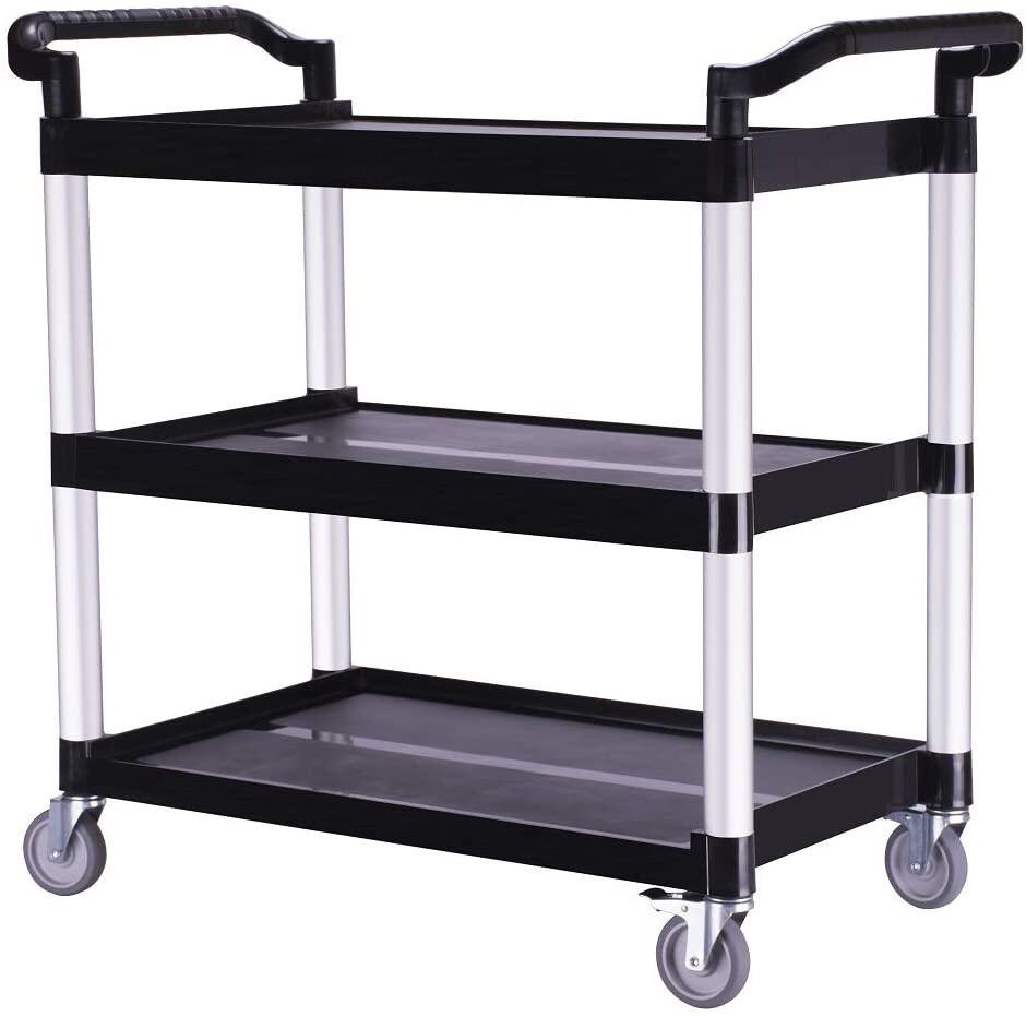 "Heavy-Duty 3-Shelf Rolling Service/Utility/Push Cart. 350 lbs. Capacity, 19"" W, 41"" L, 38"" H."