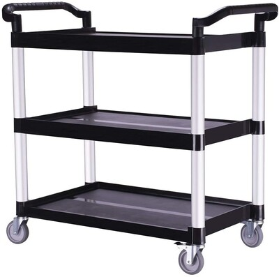 Heavy-Duty 3-Shelf Rolling Service/Utility/Push Cart. 350 lbs. Capacity, 19