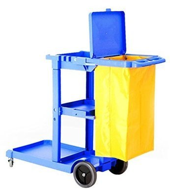 Commercial Housekeeping Janitorial cart with Vinyl Bag & Cover Blue