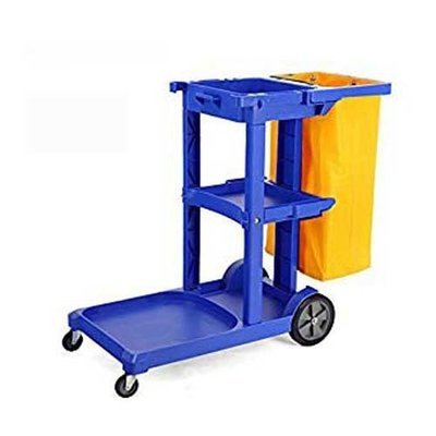 Commercial Housekeeping Janitorial cart with Vinyl Bag - Blue