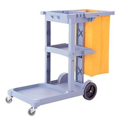 Commercial Cleaning Janitorial Cart 3 Shelf w/ 25 Gallon Vinyl Bag