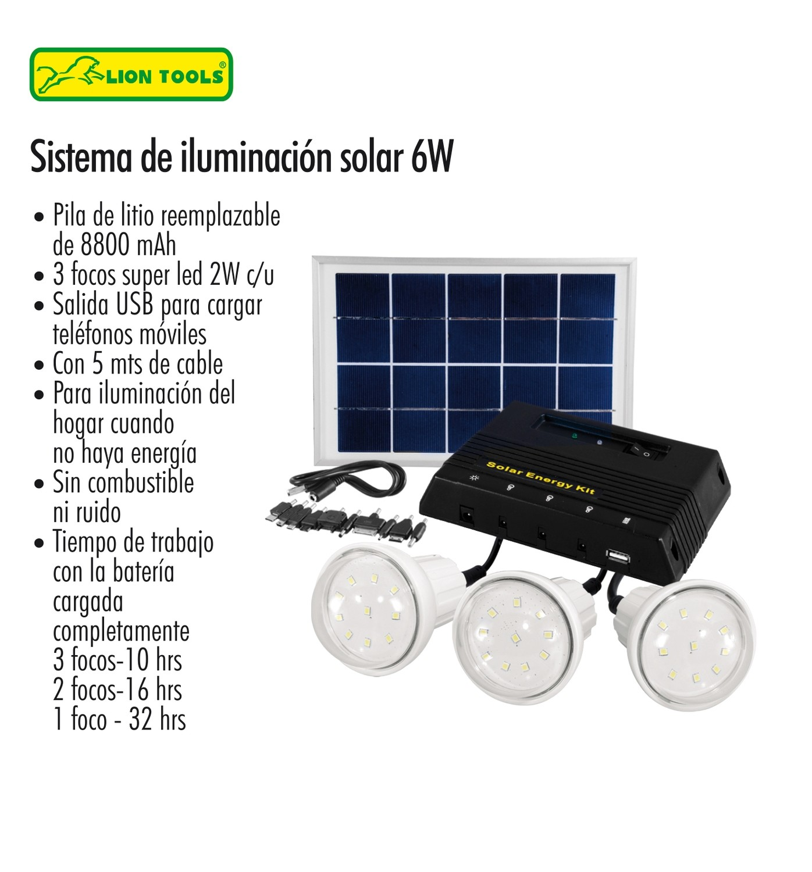 Sistema de iluminación Solar 6w