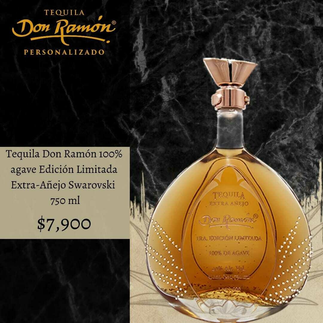 Tequila Don Ramon Edición Limitada Oro Extra Añejo Swarovsky 750 ml Personalizado