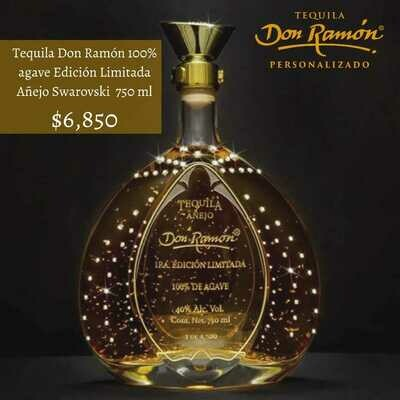 Tequila Don Ramon Edición Limitada Oro Añejo Swarovsky 750 ml Personalizado