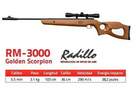 Rifle Mendoza RM 3000 con mira telescópica