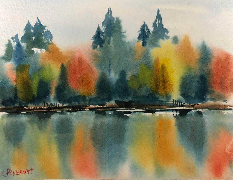 PAINTING for Sale: On Golden Pond -  Small 1/16th sheet original watercolour by Jenny Gilchrist