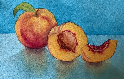 PAINTING for sale:  Just Peachy  - Med Small 1/8th sheet original watercolour by Jenny Gilchrist