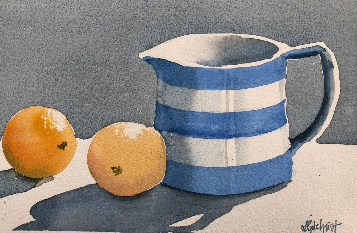 SOLD - PAINTING: The Cornishware Jug  - Med. Small 1/8th sheet original watercolour by Jenny Gilchrist