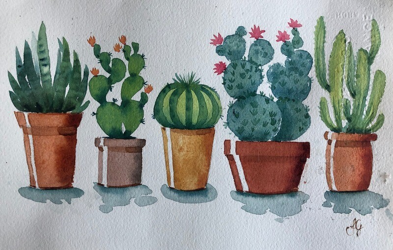 PAINTING for sale:  Prickle Pots - Medium Small  1/8th sheet original watercolour by Jenny Gilchrist