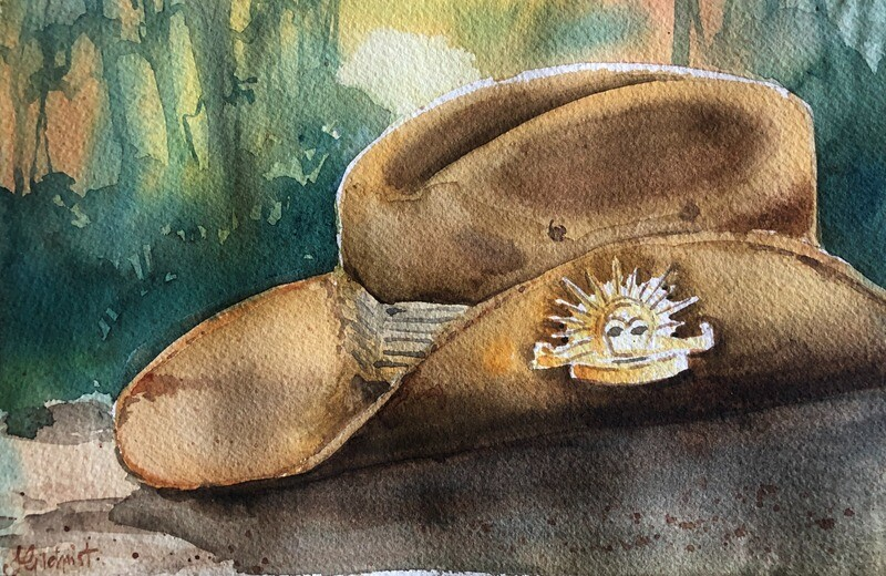 PAINTING for Sale:  The Old Slouch Hat - Medium small 1/8 sheet original watercolour by Jenny Gilchrist